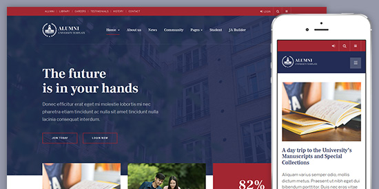 Review JA Alumni – University Joomla Template